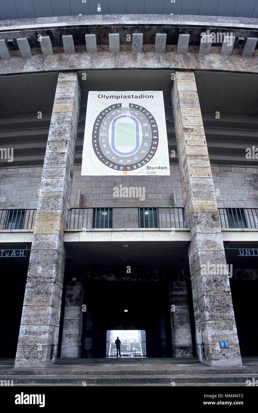 Entrance of the Olympic Stadium (Olympiastadion), built in 1936 for the Olympic Games. Berlin, Germany. - Stock Image