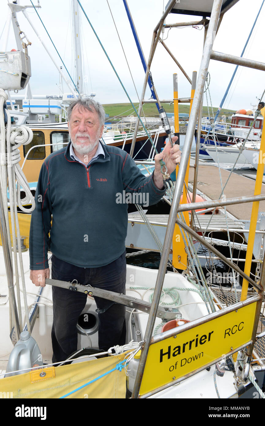Julian Mustoe sailor and adventurer aboard his boat Harrier of Down that he lost in the north sea in a gale in 2015 - Stock Image
