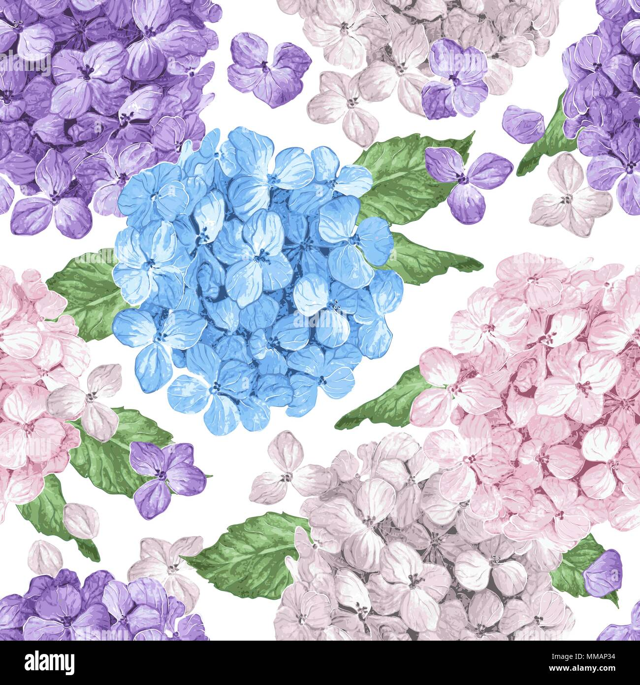 Hydrangea Flowers Petals And Leaves In Watercolor Style On White