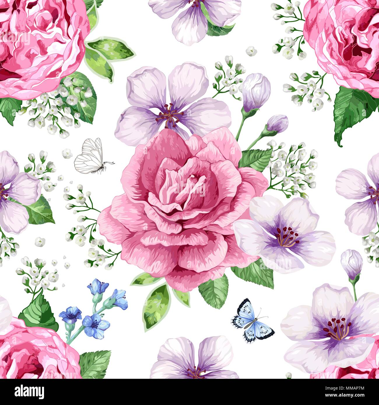 Apple Tree Roses Hydrangea Flowers Petals And Leaves In Watercolor
