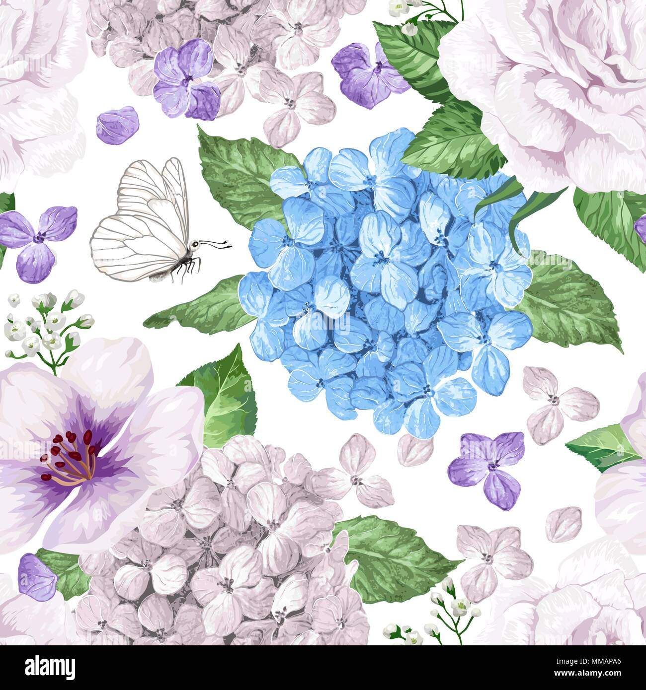 Apple Tree Flowers Hydrangea Flowerspetals And Leaves In