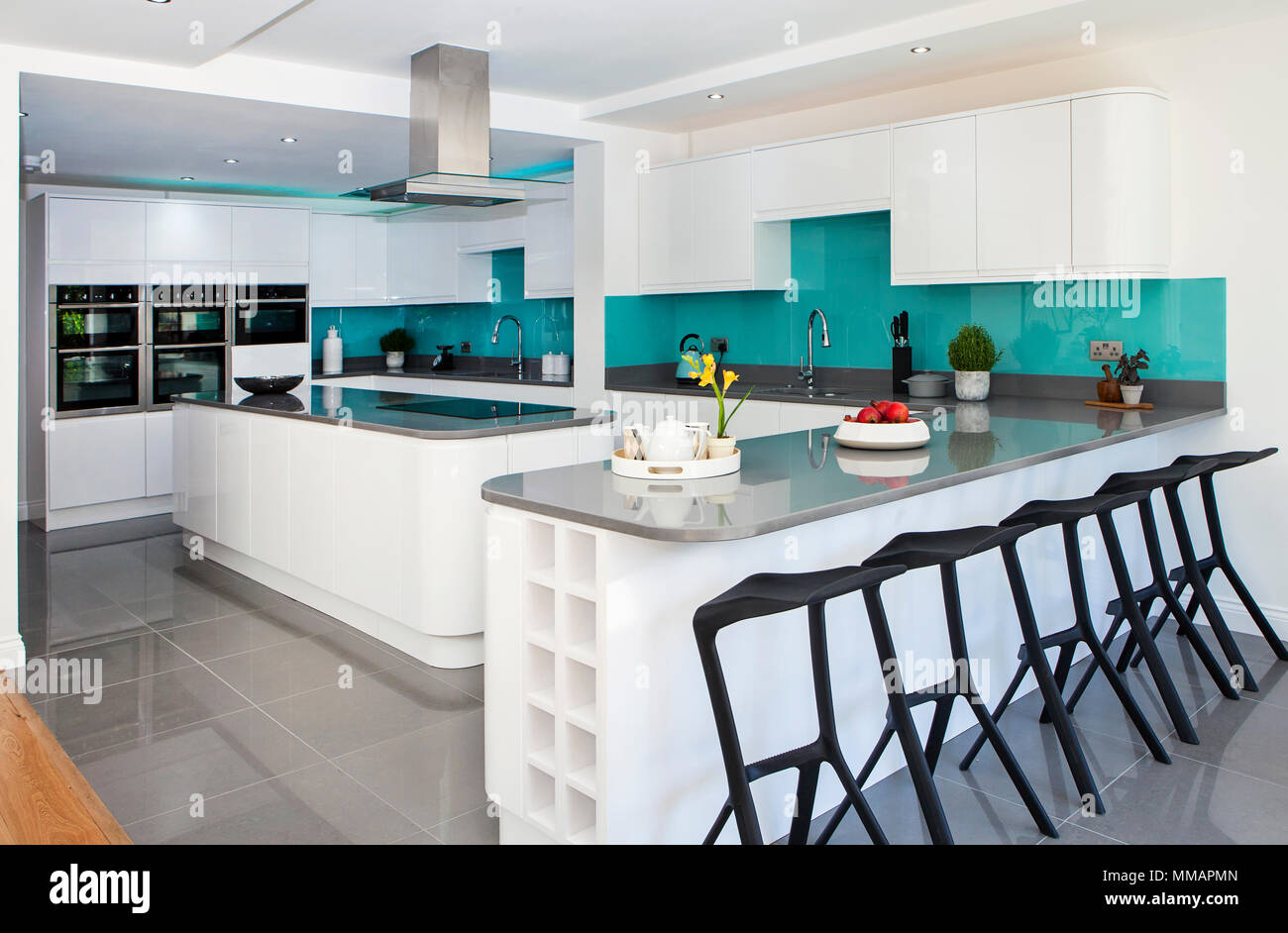Home interior of white modern kitchen - Stock Image