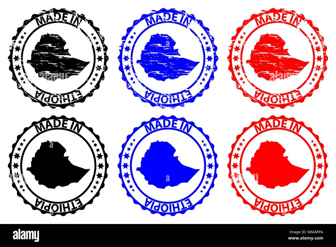Made in Ethiopia - rubber stamp - vector, Ethiopia map pattern - black, blue and red - Stock Vector