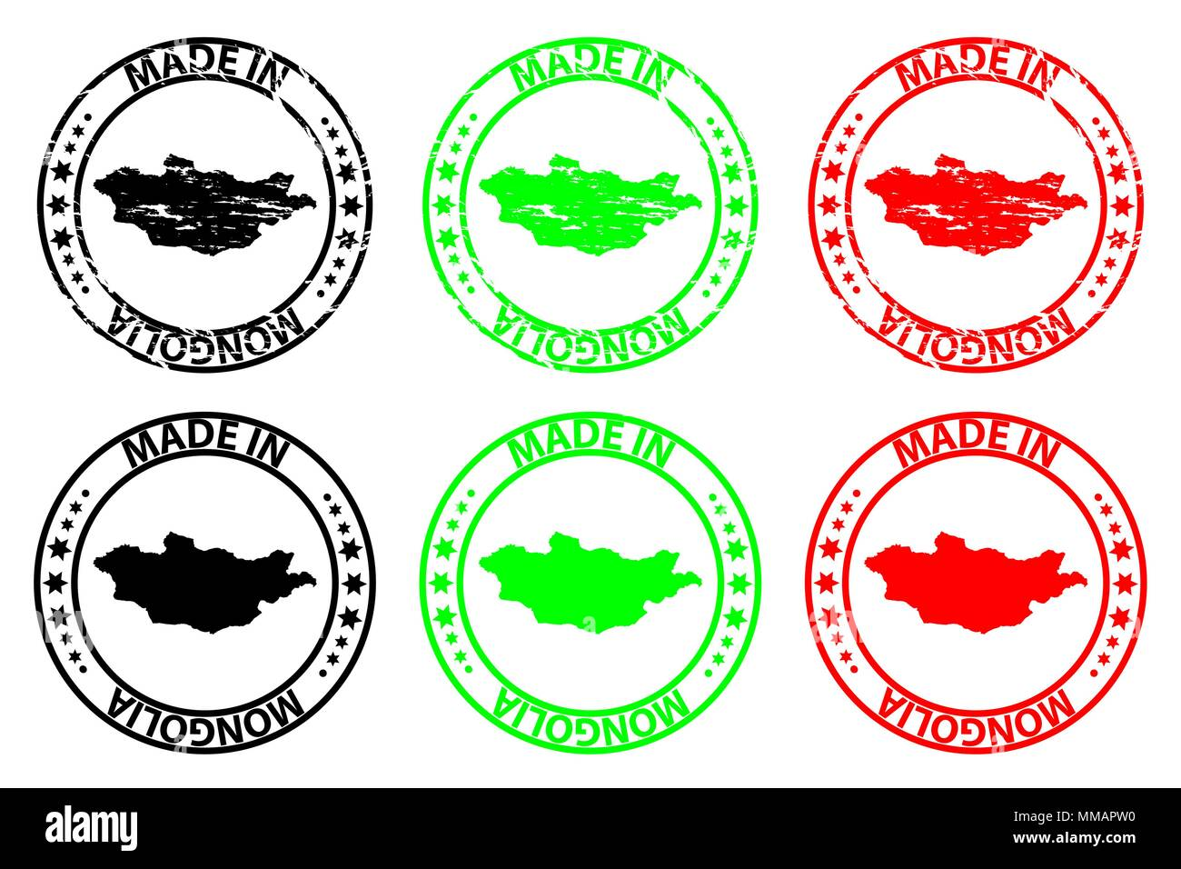 Made in Mongolia - rubber stamp - vector, Mongolia map pattern - black, green and red - Stock Vector