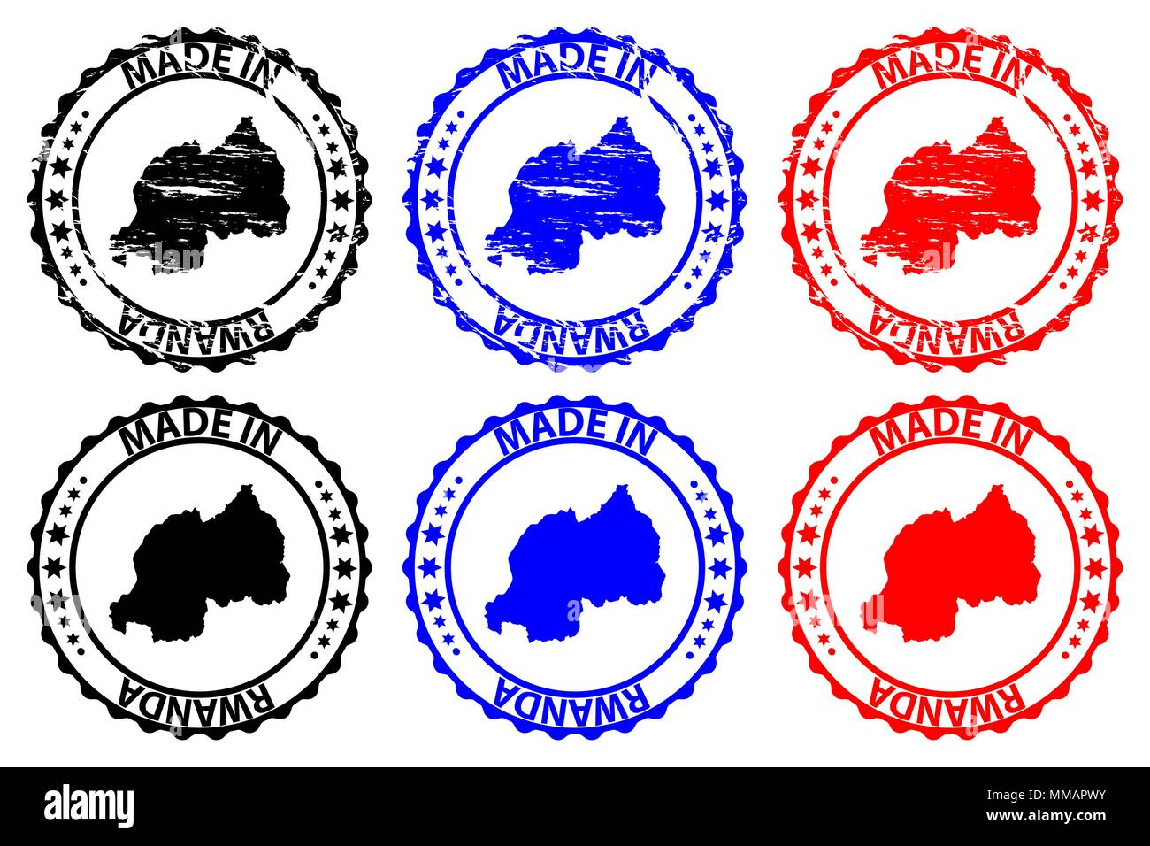 Made in Rwanda - rubber stamp - vector, Rwanda map pattern - black, blue and red - Stock Vector
