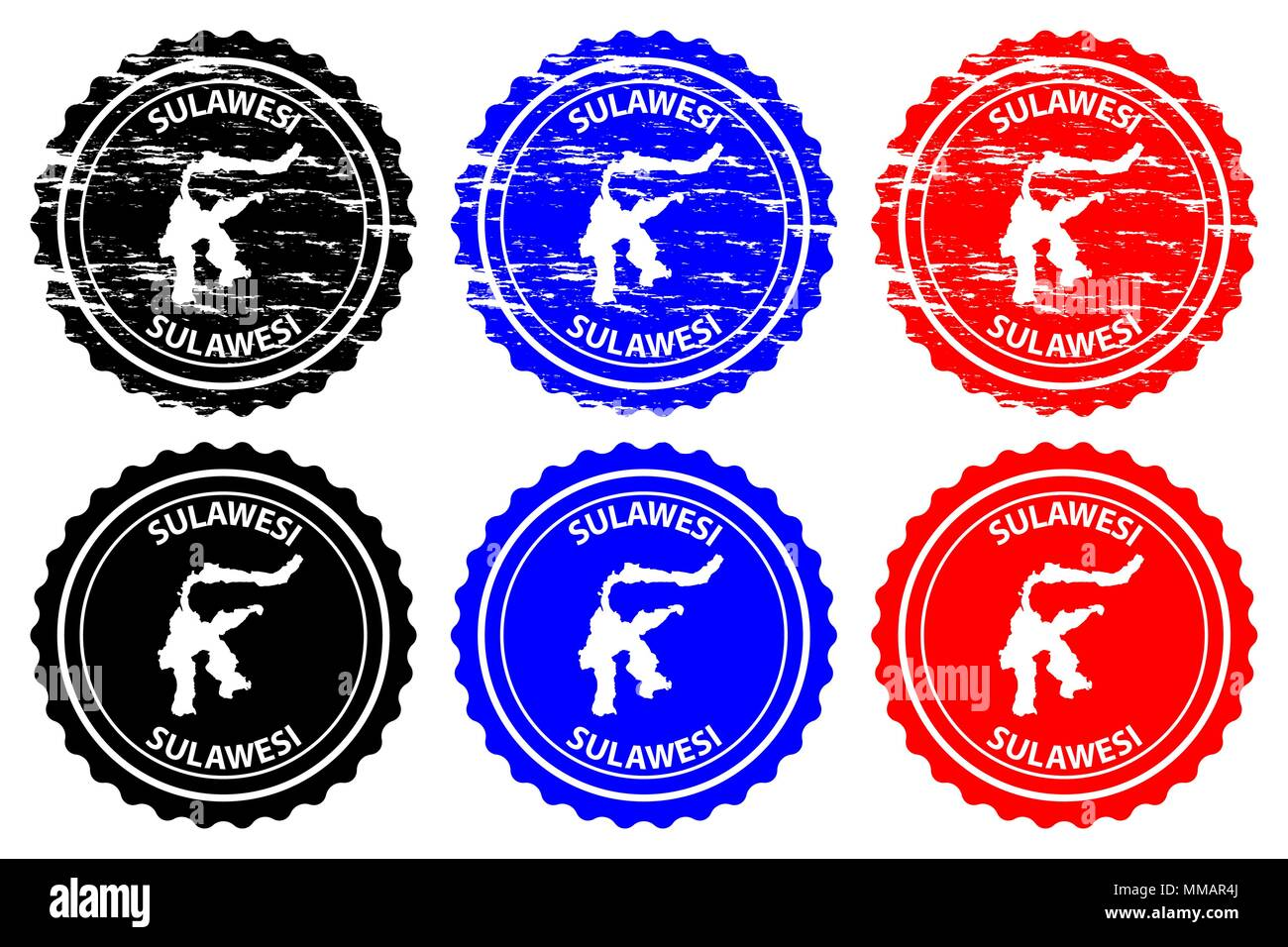 Sulawesi - rubber stamp - vector, Celebes map pattern - sticker - black, blue and red - Stock Vector