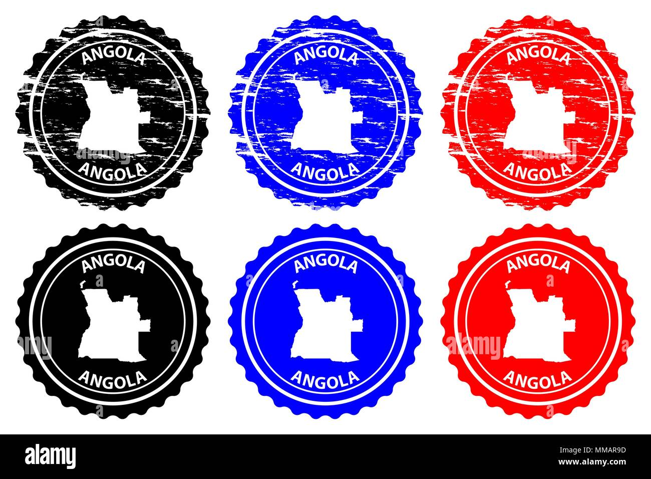 Angola - rubber stamp - vector, Angola map pattern - sticker - black, blue and red - Stock Vector