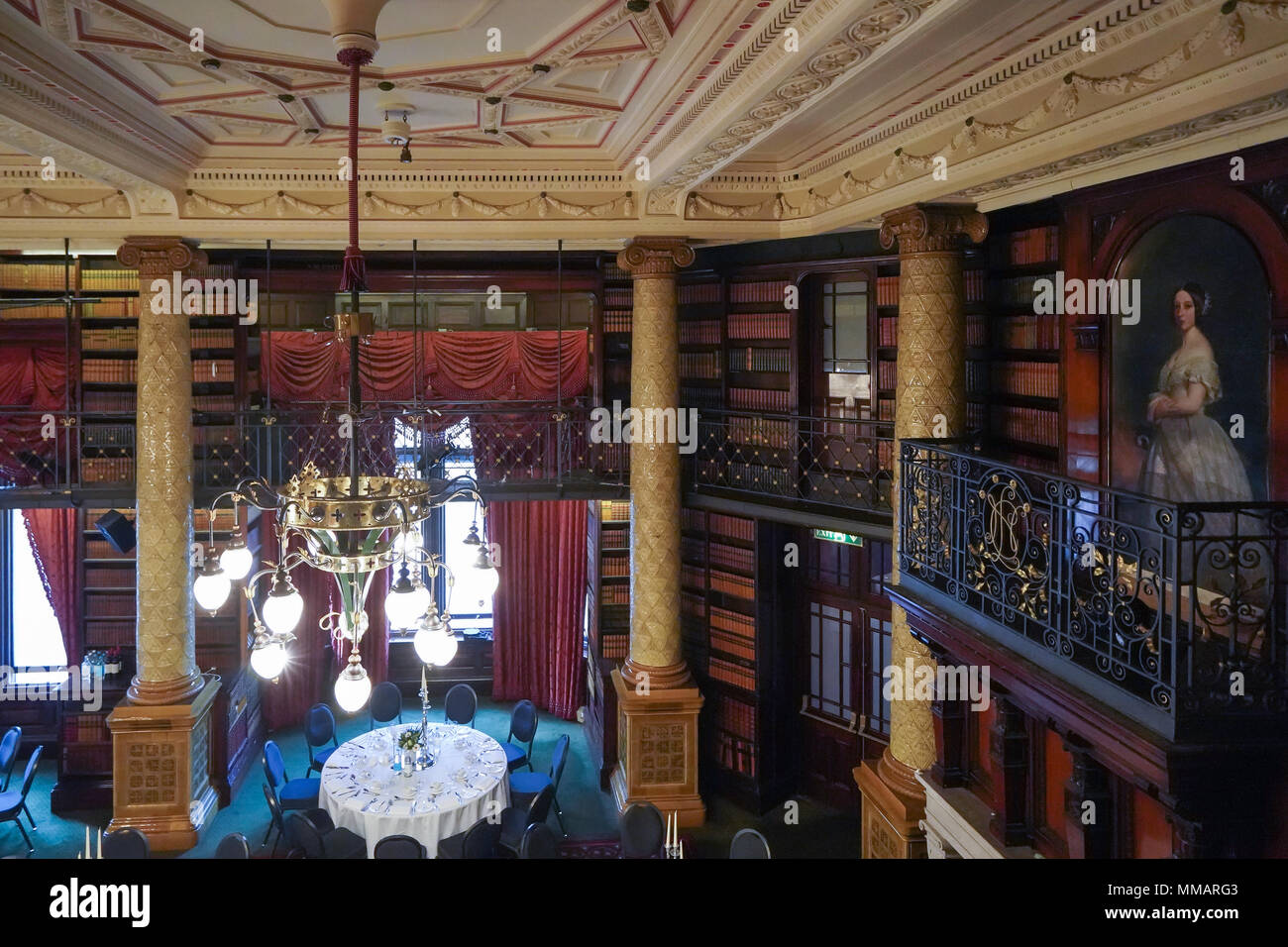 The dining room on the third floor of the National Liberal Club at 1 Whitehall Place in Westminster, London. Photo date: Saturday, April 21, 2018. Pho - Stock Image