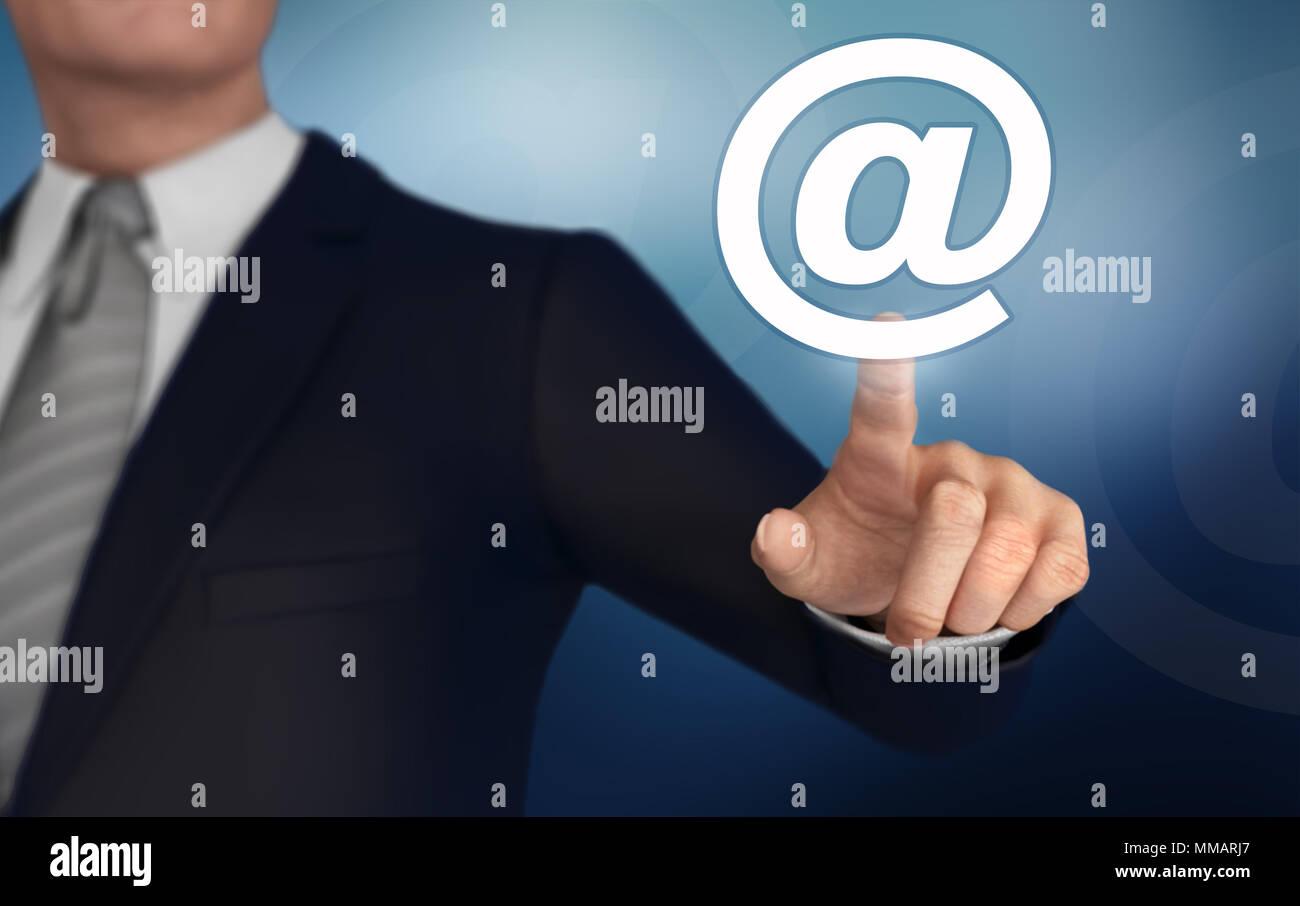 e mail   pushing concept 3d illustration - Stock Image