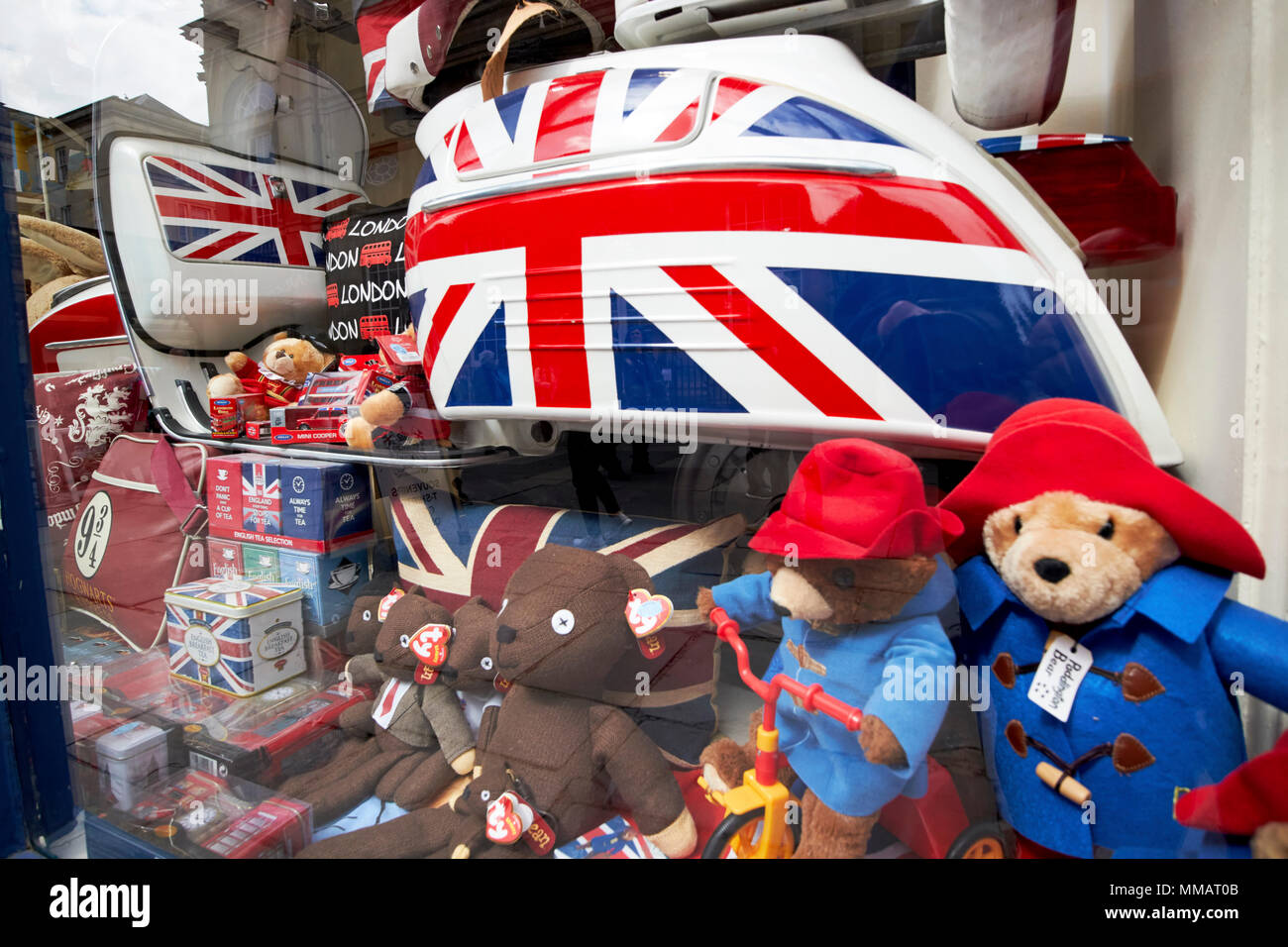 british souvenirs in the window of a gift shop Bath England UK - Stock Image