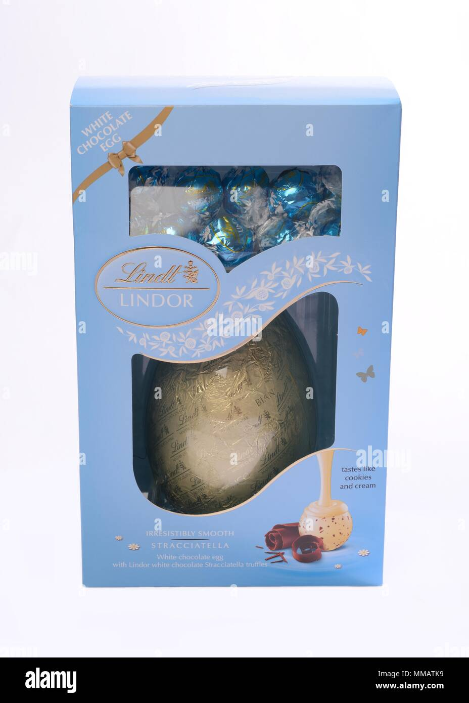 Lindt White Chocolate Easter Egg In Box On Neutral
