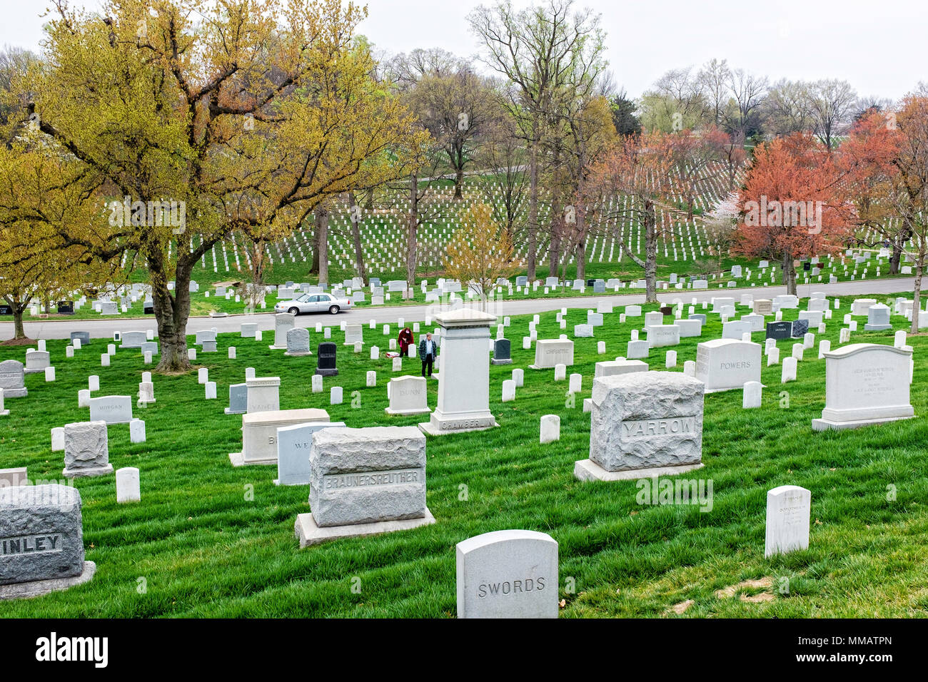 Row upon row of grave markers in the spring at Arlington National Cemetery Stock Photo