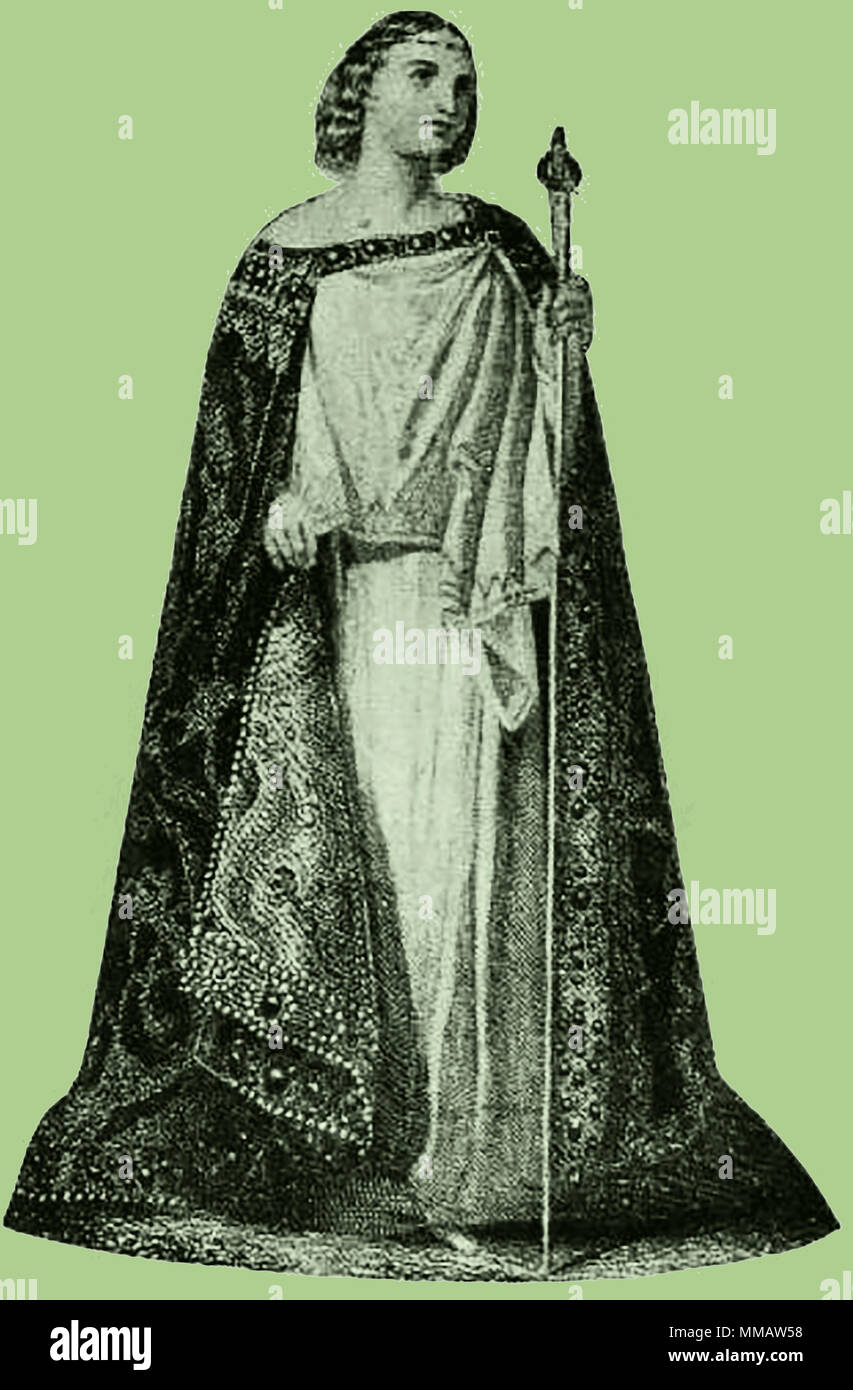A 1914 depiction of  the largely undocumented, disputed and possibly mythical Saint Erin (Eryn or Ériu ) alternatively  a Gaelic pagan  Mother goddess of the earth who personifies all natural things, e..g.  nature, motherhood, fertility, creation, natural destruction etc whose  attributes are part of the teachings of many mystical orders - Stock Image