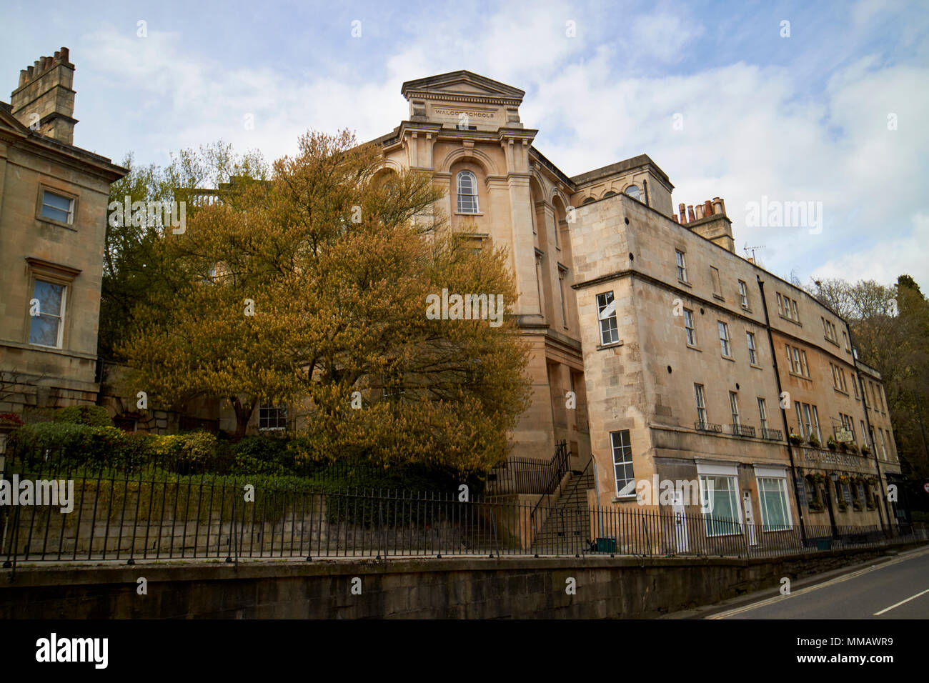 Walcot church hall built as walcot schools and 21 and 22 london road on the paragon a4 old roman road Bath England UK - Stock Image