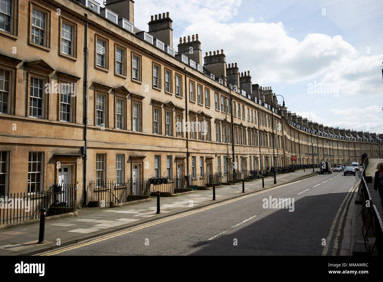 The paragon street of georgian townhouses on the A4 old roman road Bath England UK - Stock Image