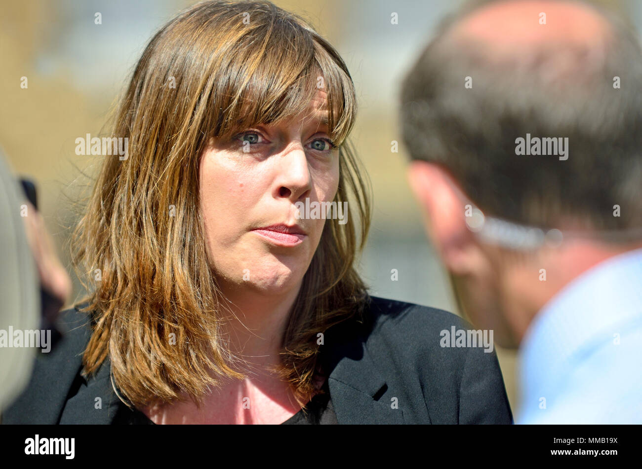 Jess Phillips MP (Labour: Birmingham Yardley) being interviewed on College Green, Westminster - Stock Image