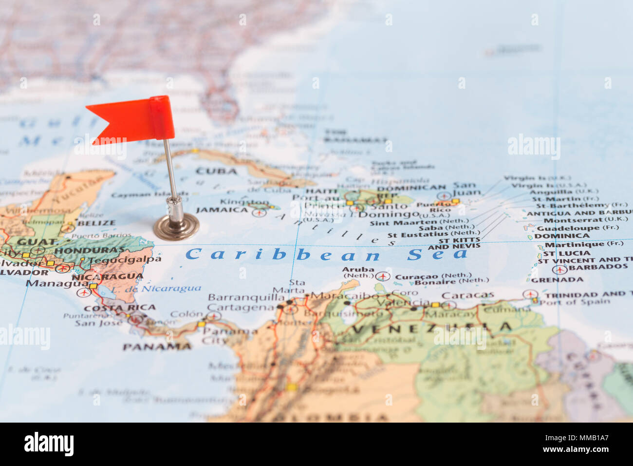 Red sea map stock photos red sea map stock images alamy small red flag marking the caribean sea on a world map stock image gumiabroncs Choice Image