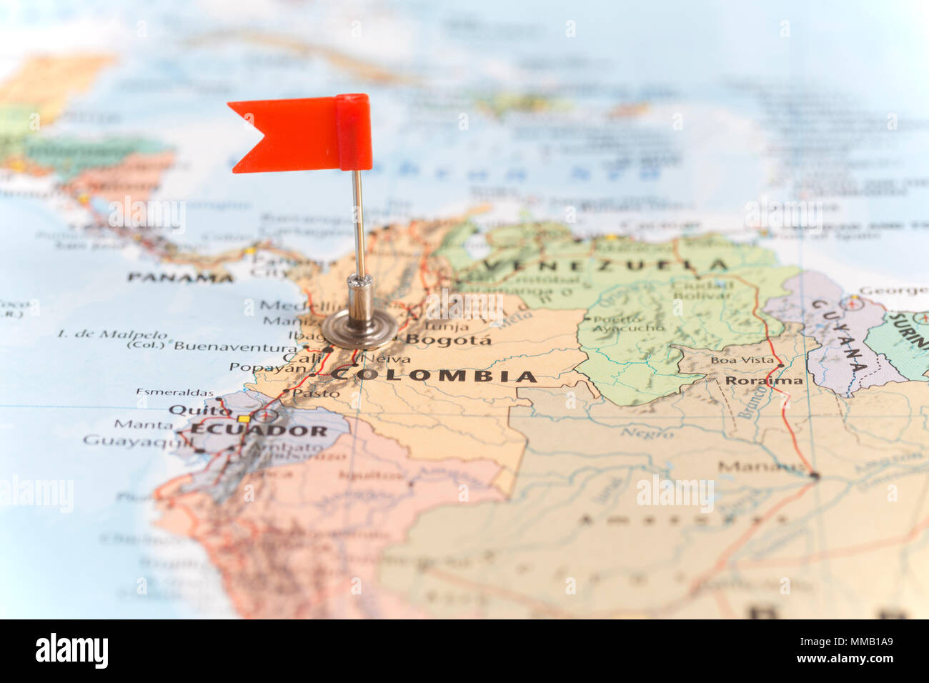 Colombia south america map stock photos colombia south america map small red flag marking the south american country of colombia on a world map gumiabroncs Gallery