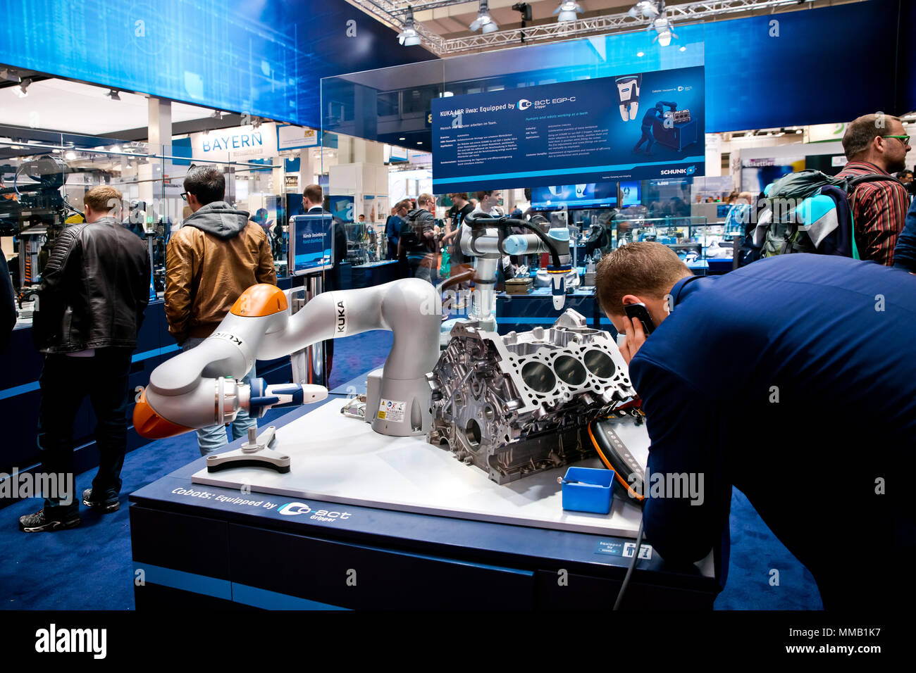 Hannover, Germany - April, 2018: Universal Robots UR5 equipped with