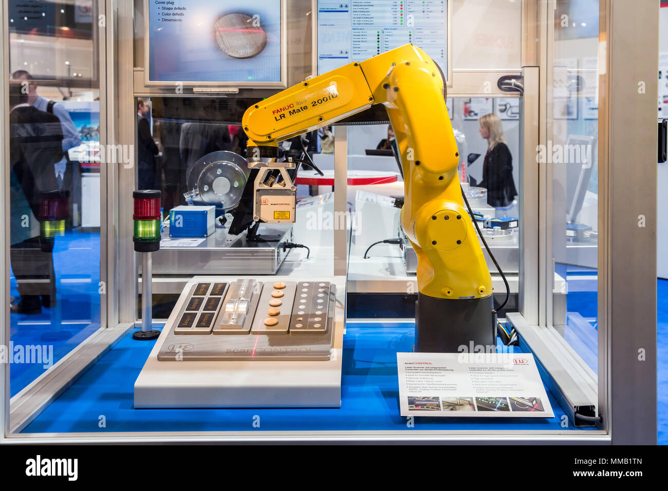 Hannover, Germany - April, 2018: Automatic Industrial Robot Fanuc LR Mate  200 iD and laser scanner with integrated controller for 2D/3D scans on Messe