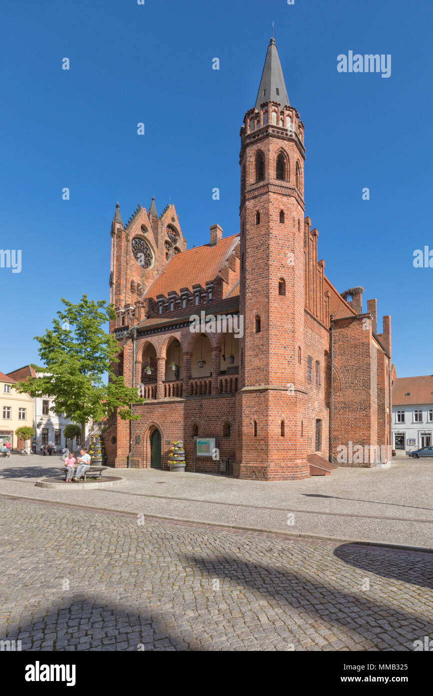 Historic town hall and square at Tangermünde, Saxony-Anhalt - Stock Image