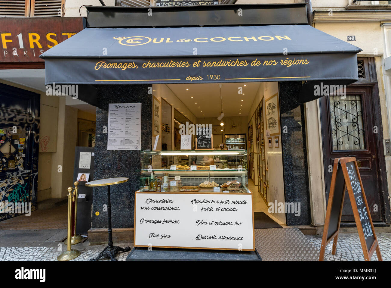 Cul De Cochon cheese and charcuterie shop ,Rue Montorgueil, Paris, France - Stock Image