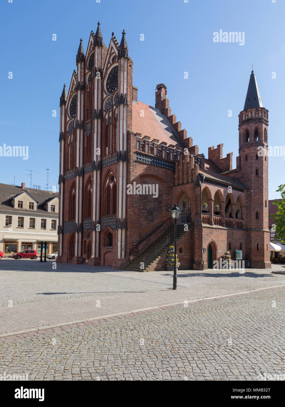 Historic town hall at the Hanseatic City of Tangermünde, Saxony-Anhalt, Germany - Stock Image