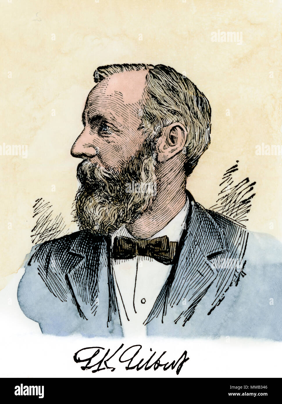 Grove Karl Gilbert, chief of US Geologic Survey in the late 1800s. Hand-colored woodcut - Stock Image