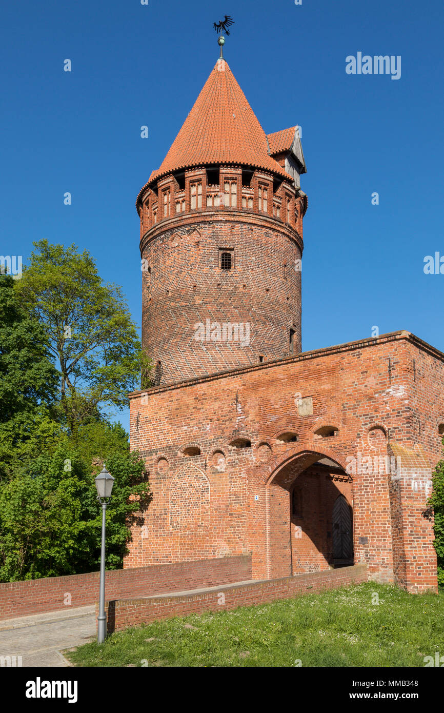 Gate and tower of Tangermünde Castle, Saxony-Anhalt - Stock Image