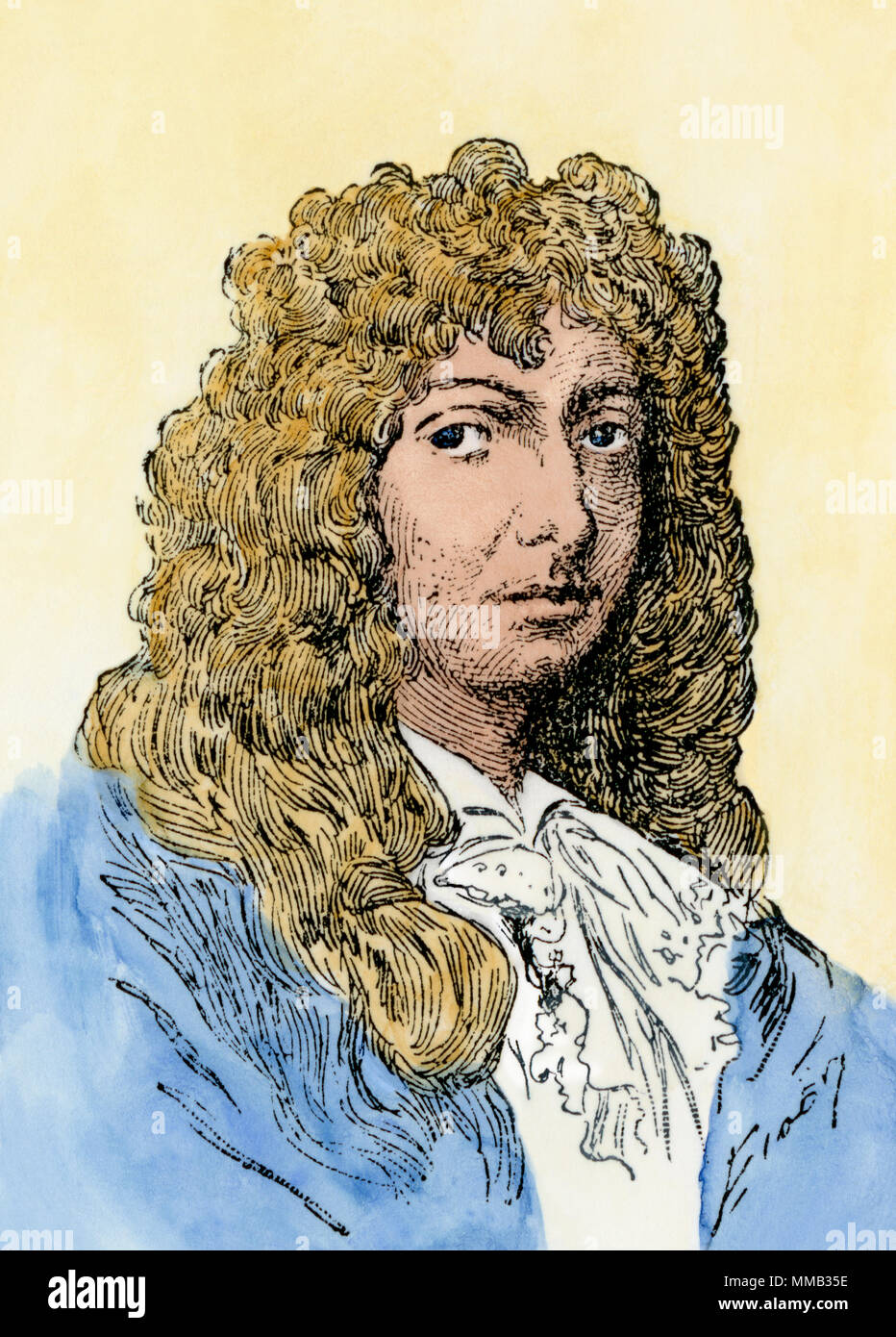 Christiaan Huygens. Hand-colored woodcut - Stock Image