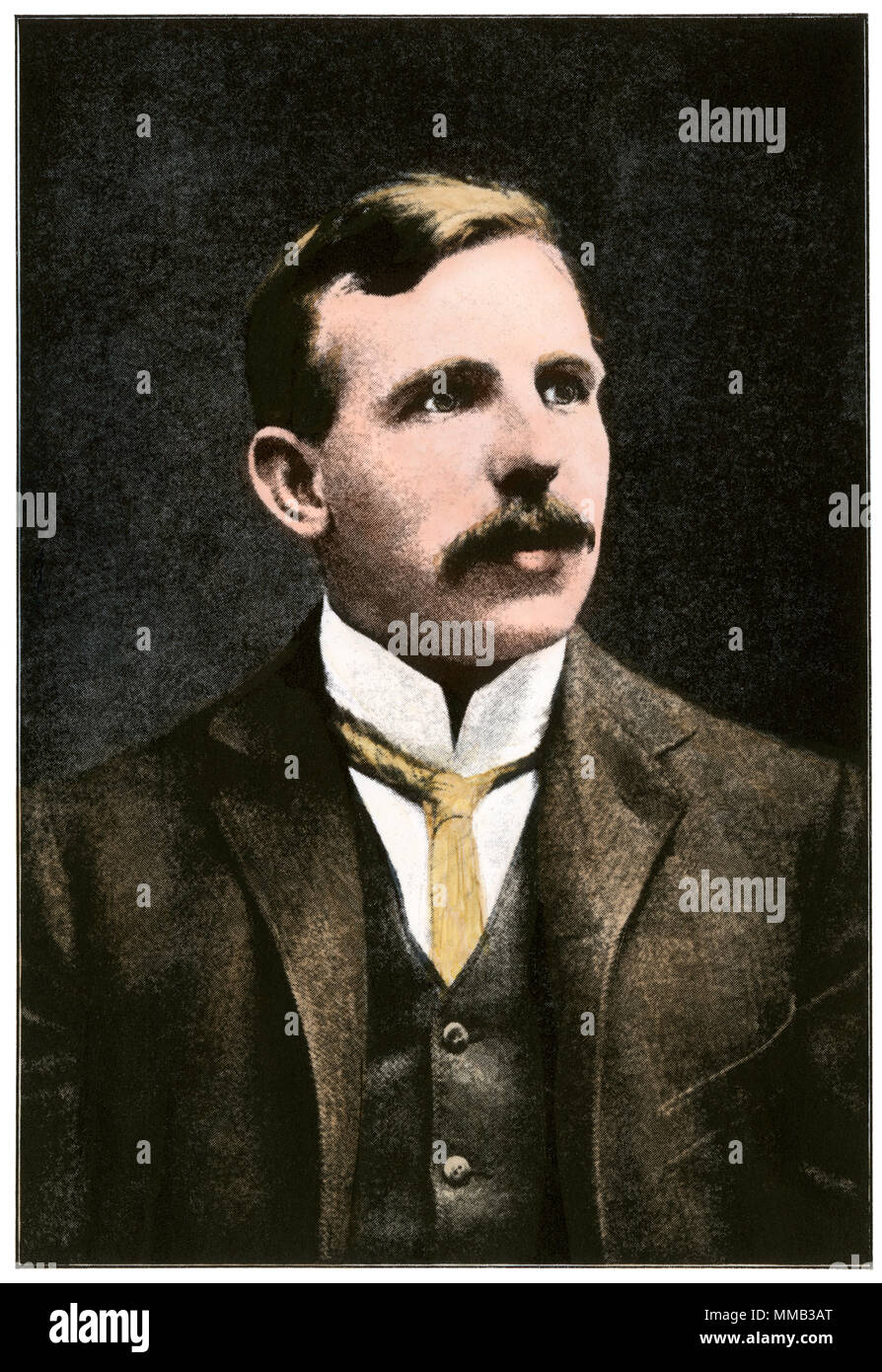 Ernest Rutherford, Nobel Prize winner in Chemistry, 1908. Hand-colored halftone of a photograph - Stock Image