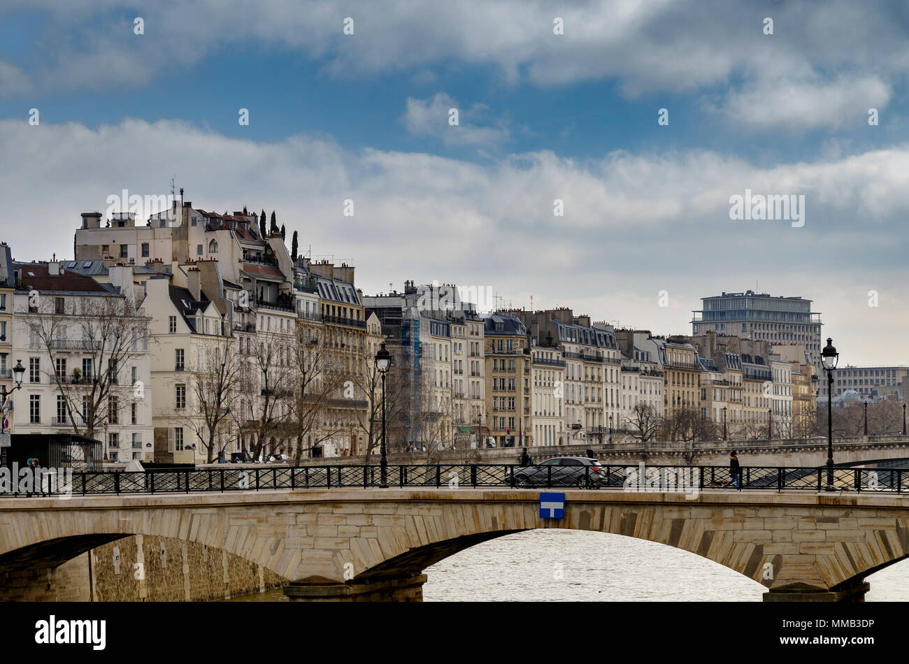 Pont de l'Archevêché looking towards the buildings and apartments on  Île Saint-Louis,Paris ,France - Stock Image