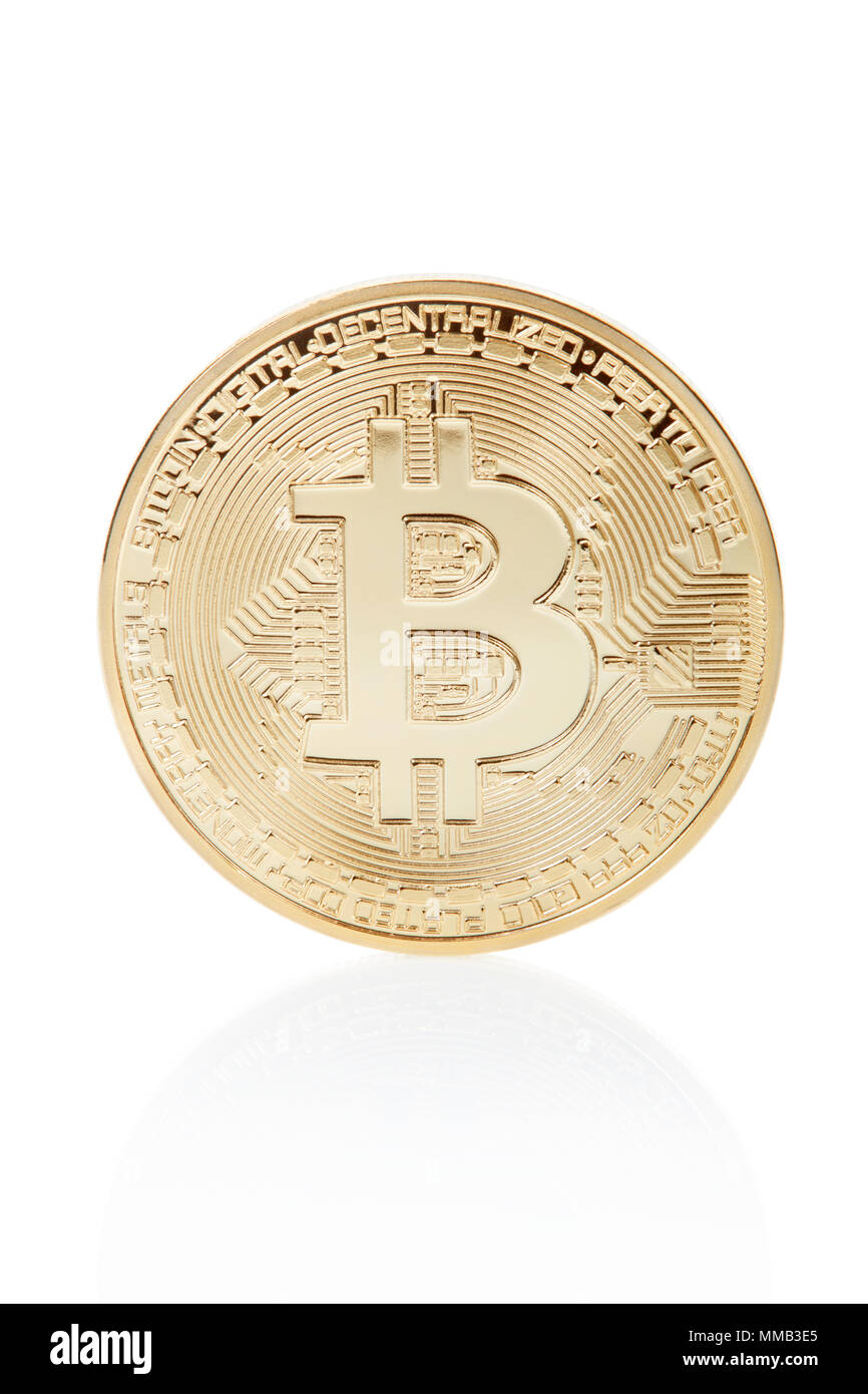 Bitcoin, golden coin isolated on white, clipping path included - Stock Image