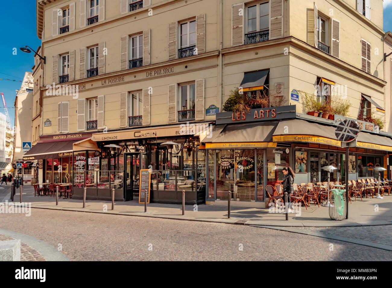 Restaurants and cafes on The Place de la Contrescarpe ,near Rue Mouffetard , Paris , France - Stock Image