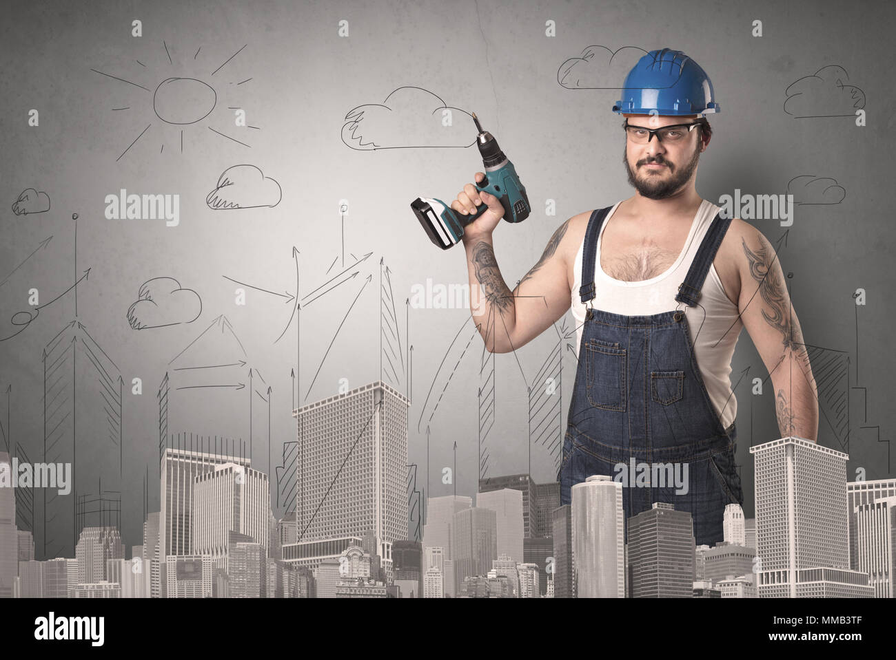 Handyman with tool in his hand and cityscape nearby. - Stock Image