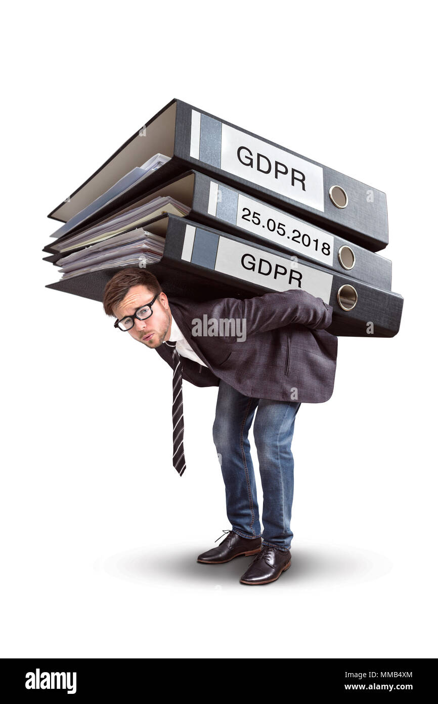 Man carrying an enormous stack of GDPR files - Stock Image