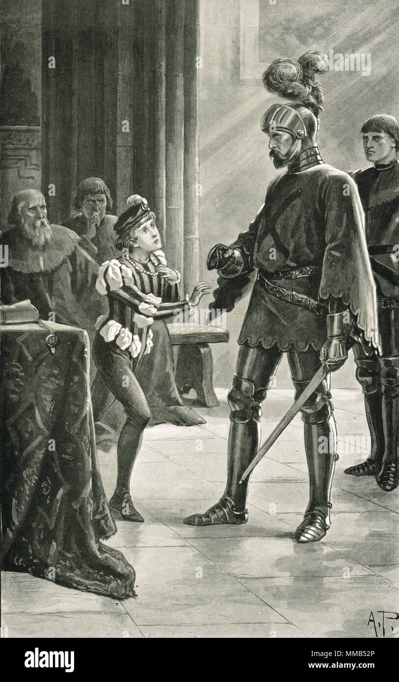 James IV mistaking Admiral Andrew Wood for his father, Leith, Scotland, 1488.  Following the death of James III at the  Battle of Sauchieburn - Stock Image