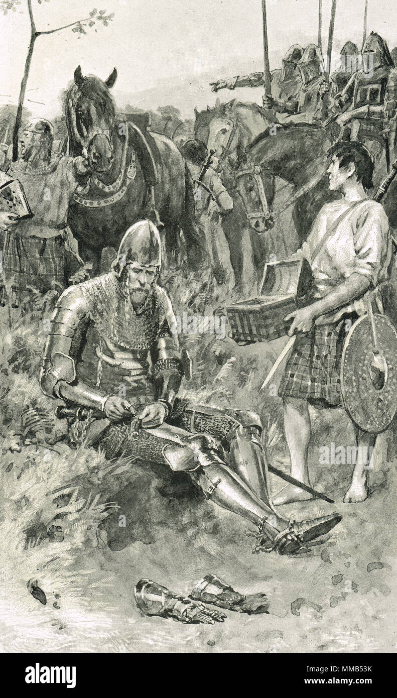 Sir Andrew Murray (also known as Sir Andrew Moray, or Sir Andrew de Moray), calmly mending his armour as the English army approached during the Second War of Scottish Independence the invasion of Scotland by Edward III, 1335.   The Scottish equivalent of Drake playing bowls as the Armada approached. - Stock Image