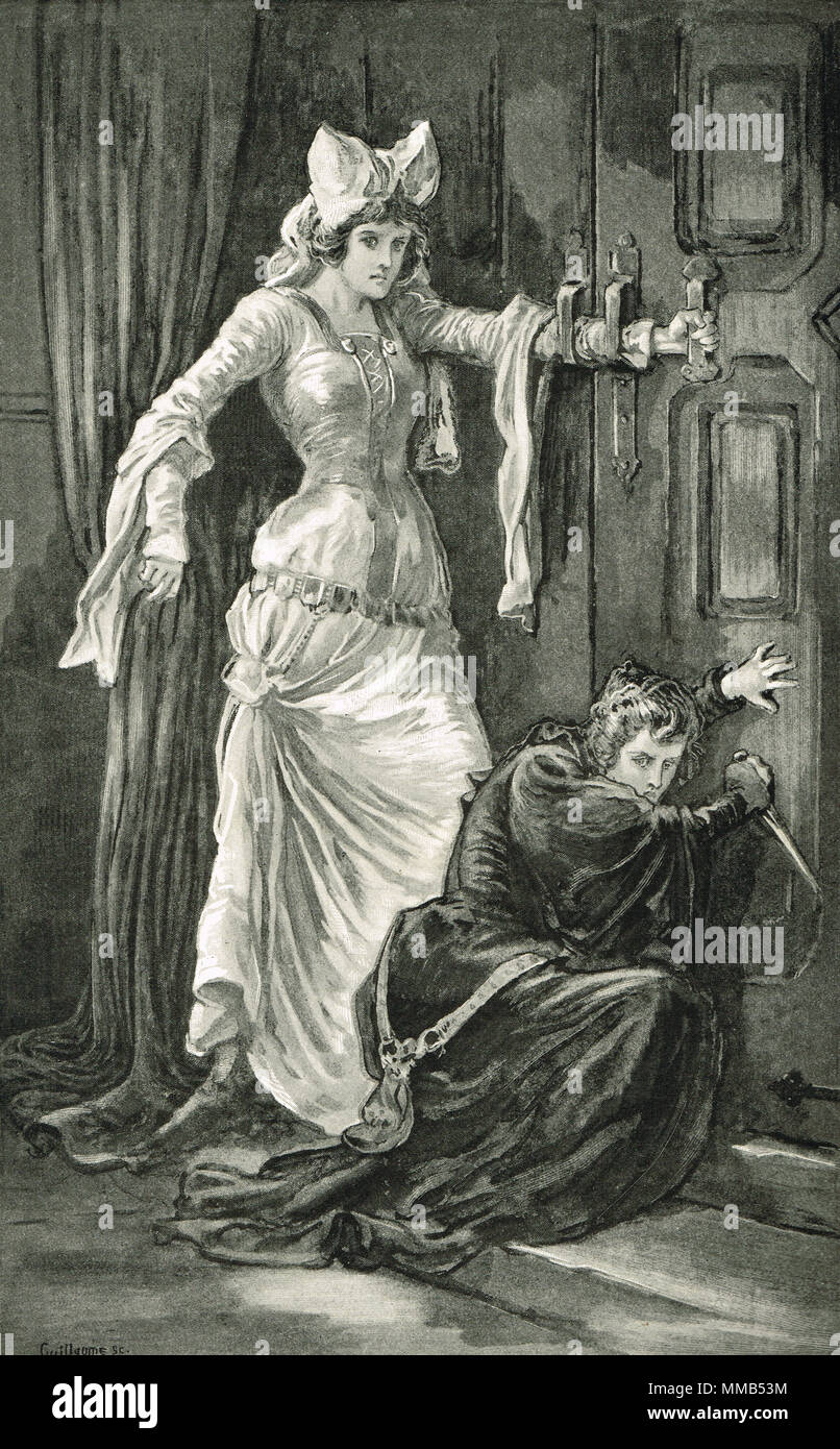 The assassination of James I of Scotland, Catherine Douglas trying to bar the door with her arm, attempting to bar the assassins' entrance, Monastery of the Black Friars, Perth, Scotland, 20 February 1437. The men led by Sir Robert Graham forced the door open, breaking Catherine's arm - Stock Image