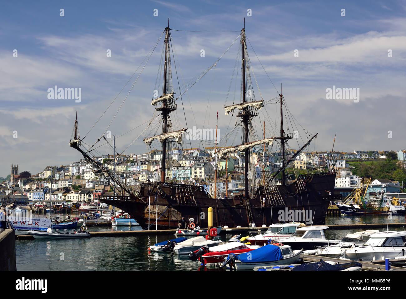 El Galeon Andalucia moored at Brixham in Devon. - Stock Image