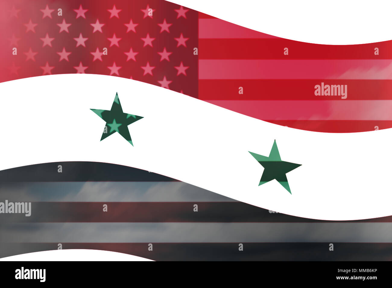 Syria country overlay with USA flag wave illustration Stock