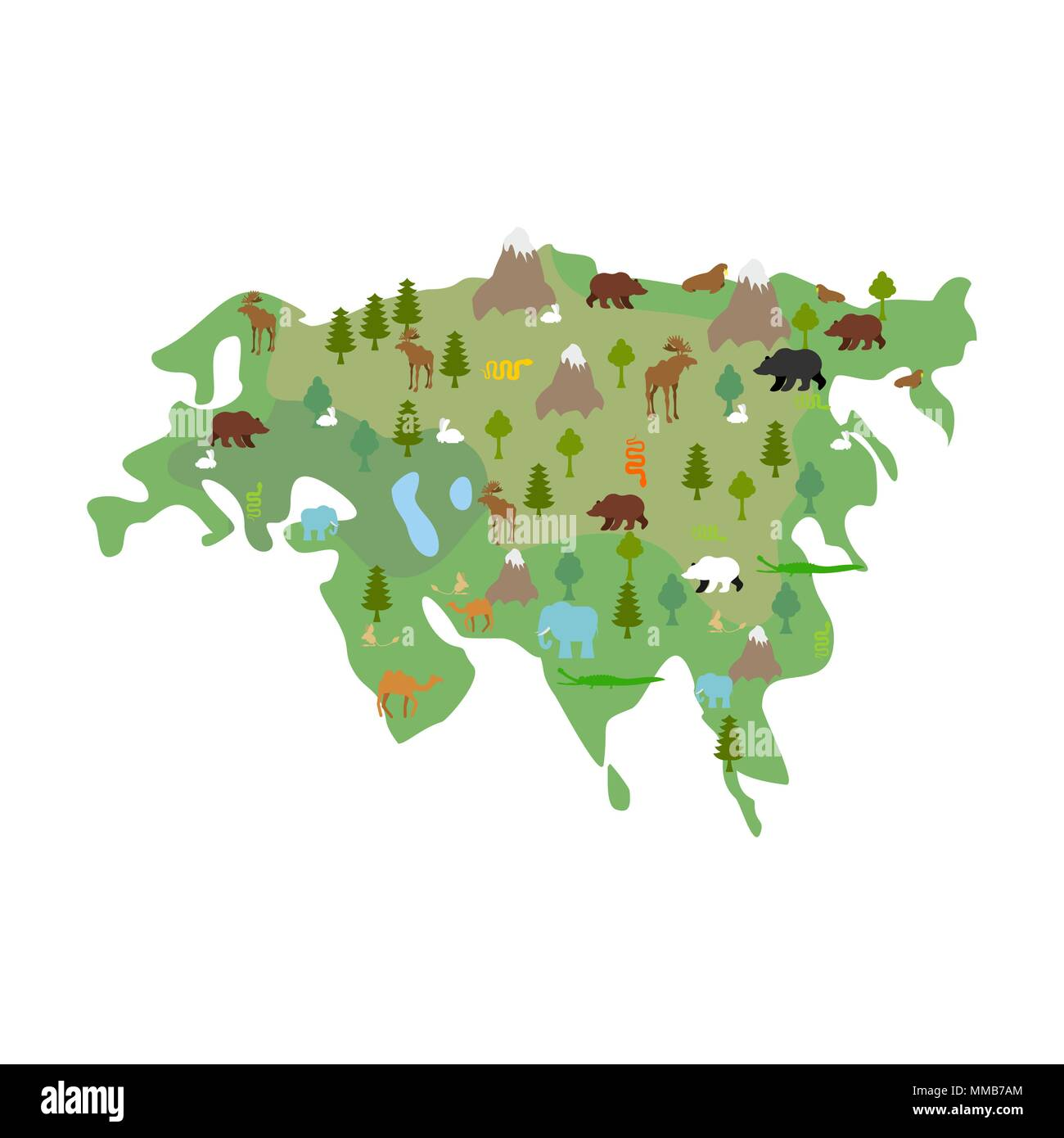 Eurasia continent Map Animal and plants. flora and fauna on mainland. Vector - Stock Image