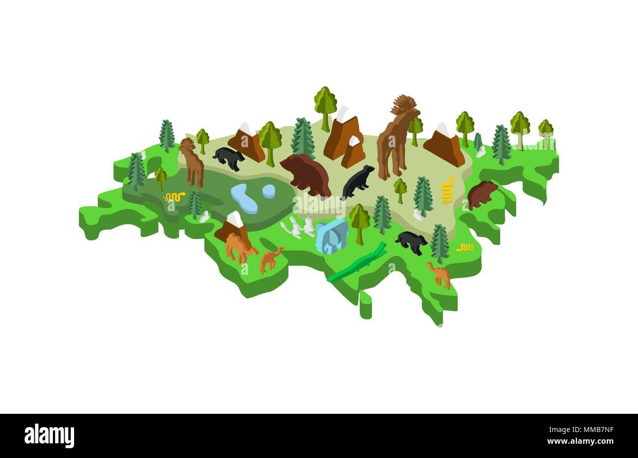 Eurasia Isometric Map Animal and plants. flora and fauna on mainland. Vector - Stock Image