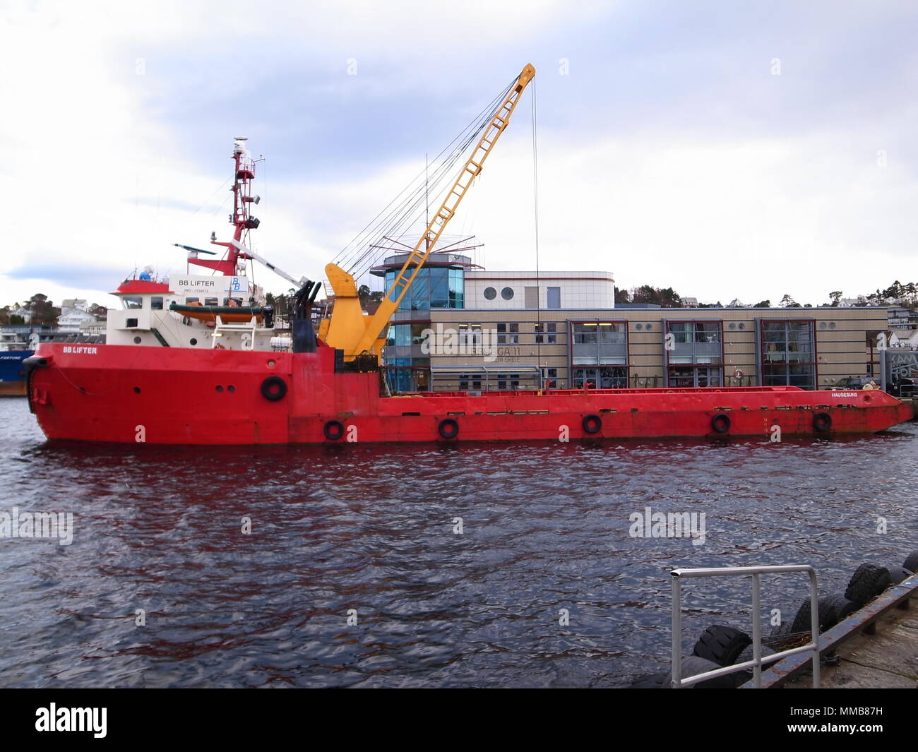 BB Lifter offshore supply ship in Stord, Liervik, Norway - Stock Image