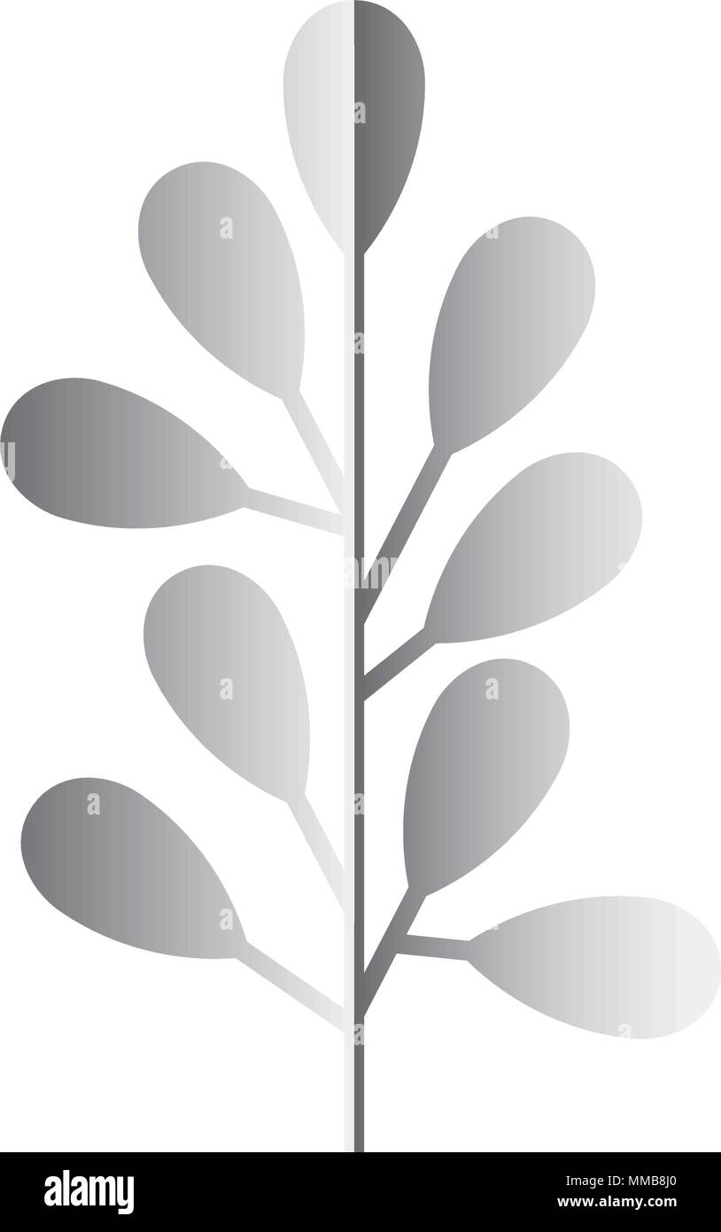 branch with leafs silvery decoration - Stock Vector