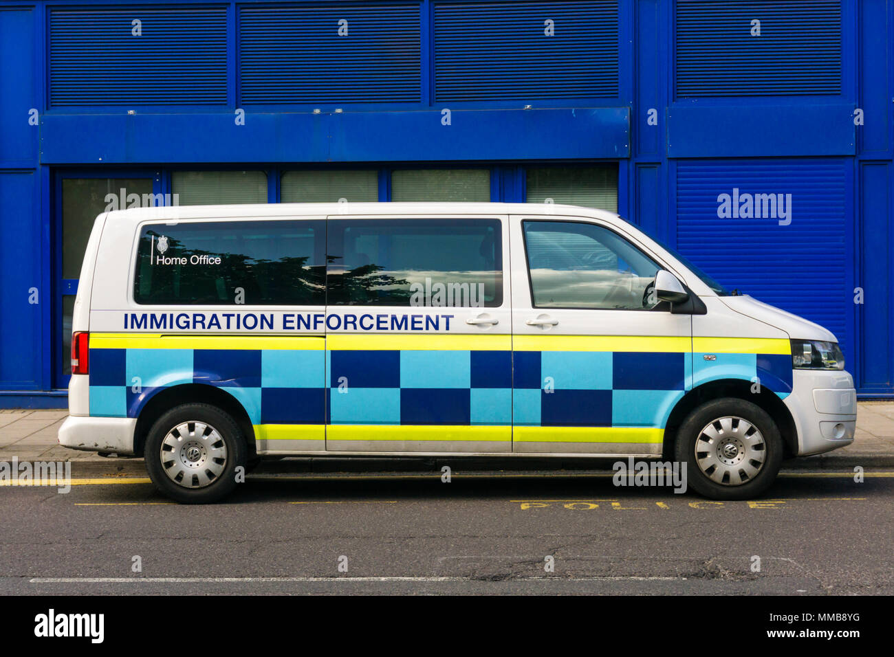 A white Volkswagen Home Office Immigration Enforcement van parked in Beckenham, South London. - Stock Image