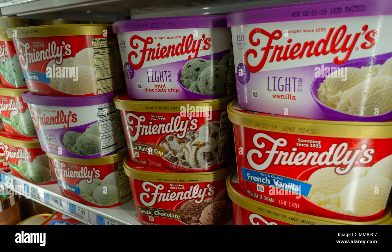Tubs of Dean Foods' brand, Friendly's ice cream in a supermarket freezer in New York on Tuesday, May 8, 2018.  Dean Foods, the largest U.S. milk processor, reported a first-quarter loss. (©Richard B. Levine) Stock Photo