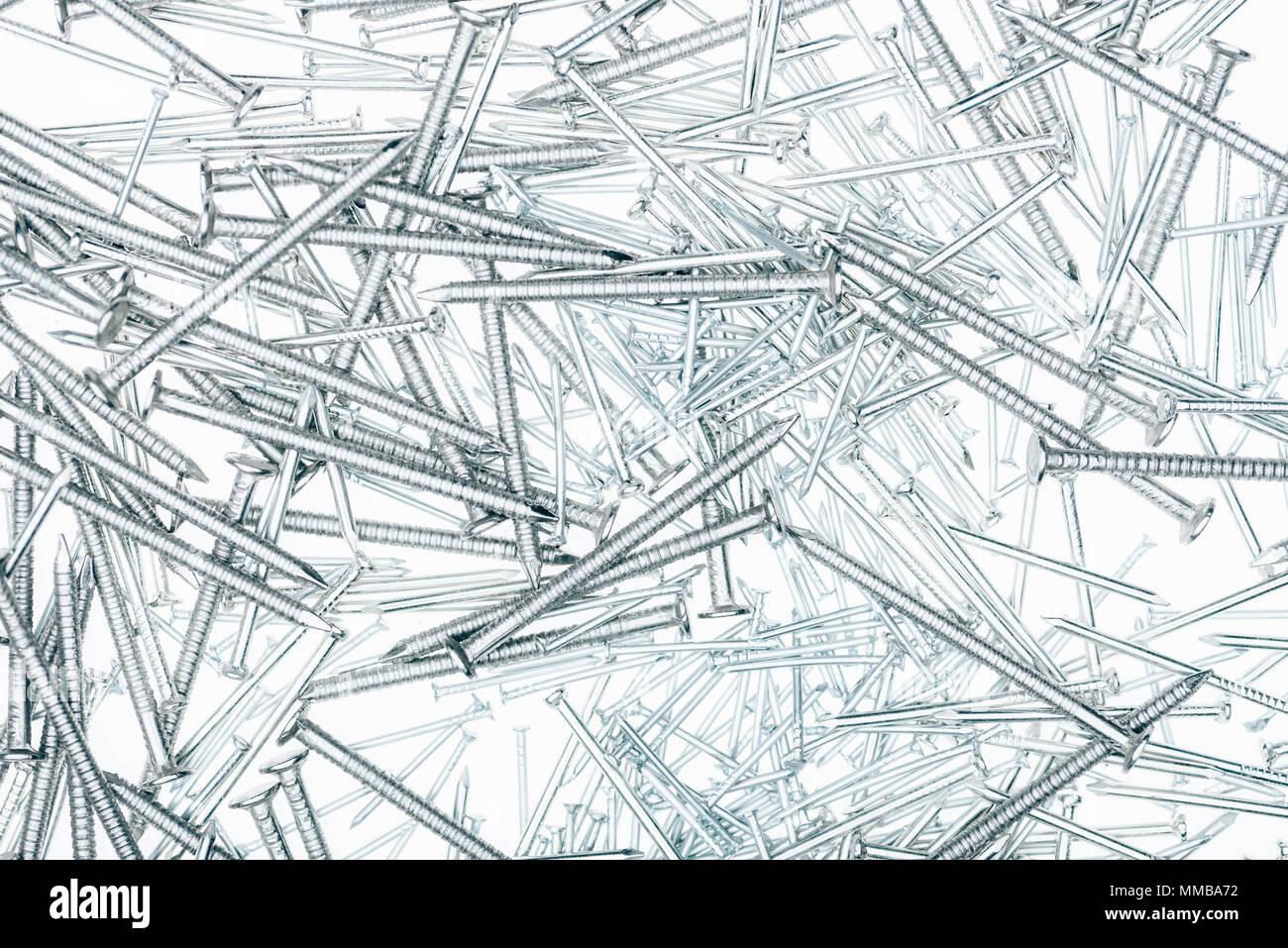 full frame of metal framing nails for carpentry isolated on white ...