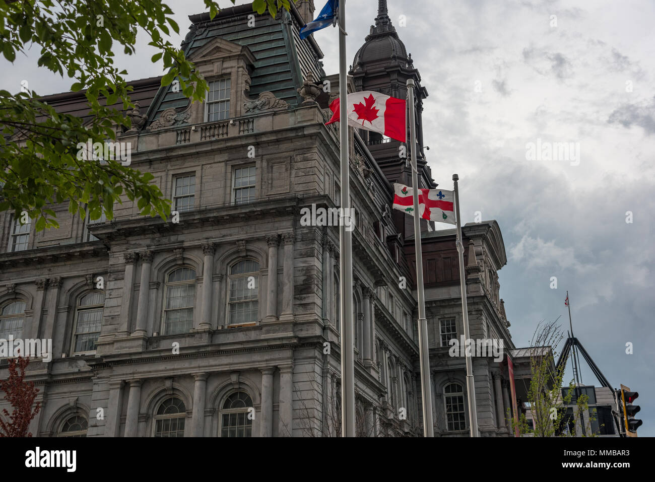 August 4, 2017 - Montreal, Canada: Montreal City or Town Hall and Government Office square - Stock Image