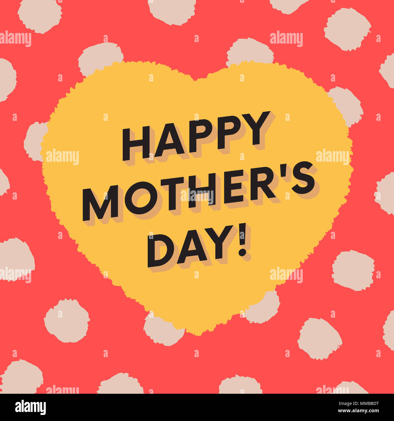 happy mother s day greeting card with dots and brush strokes big